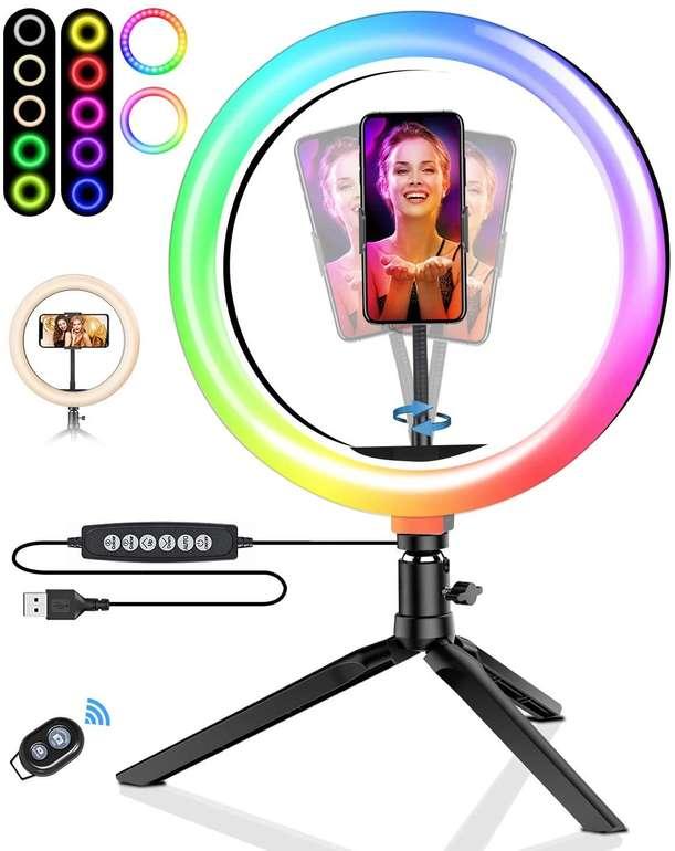 """BlitzWolf RGB LED 10,2"""" Ringleuchte mit Stativ für 22,39€ inkl. Versand (statt 29€)"""