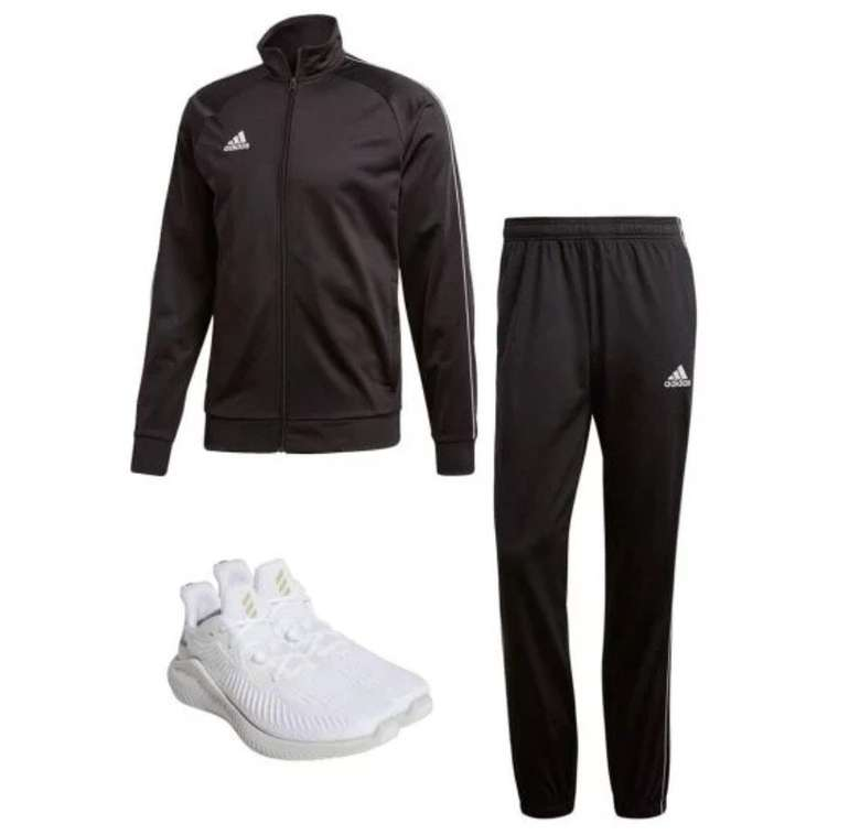 3-tlg. Adidas Outfit bestehend aus Core 18 Trainingsanzug & Alphabounce+ Sneaker für 78,90€
