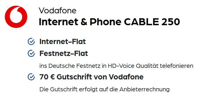 Vodafone Internet & Phone Cable 250