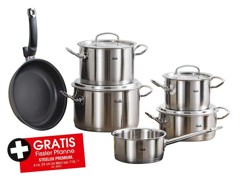 Fissler Original Profi Collection 5tlg + Fissler Protect Steelux Premium Pfanne für 352,95€