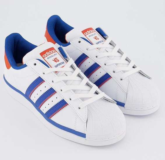 adidas Superstar Trainers White Blue Orange für 50€ (statt 99€)