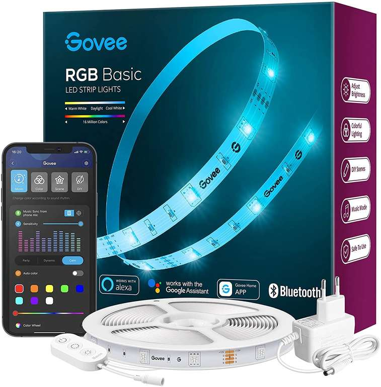 Govee LED Strip mit 5m Länge (Alexa, RGB, Musik Snyc.,) für 16,82€ inkl. Prime Versand (statt 22€)