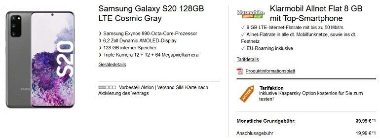 Samsung Galaxy S20 Vodafone Klarmobil Allnet-Flat 8GB LTE