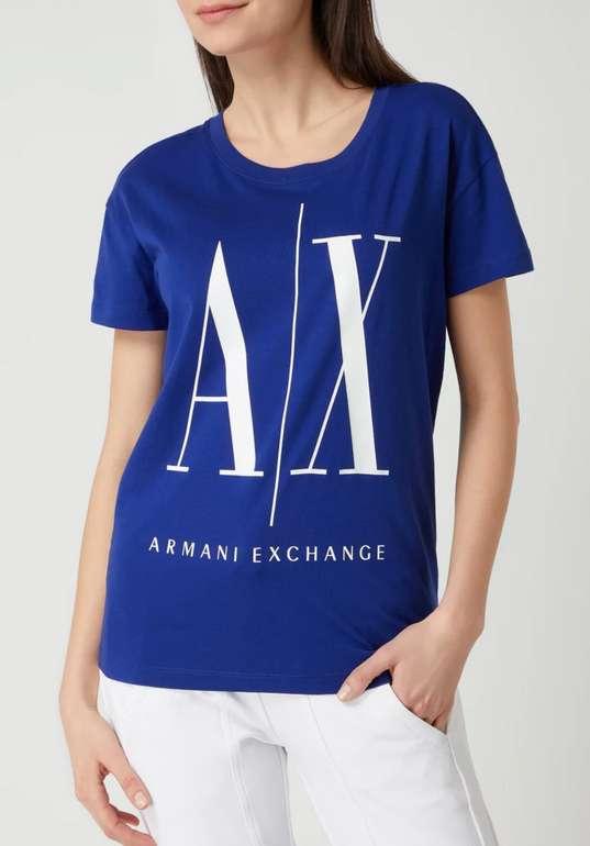 Armani Exchange T-Shirt mit Logo-Print in Dunkelblau für 21,24€ inkl. Versand (statt 37€)