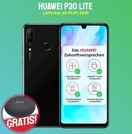 Huawei P30 Lite (49€) + o2 Blau Allnet L mit 4GB LTE für 9,99€ mtl. (+ gratis Google Home Mini)