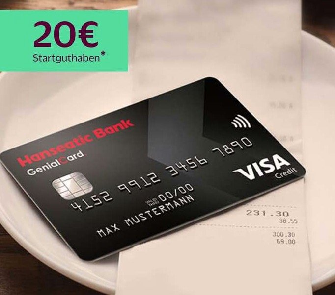 Gebührenfreie Hanseatic GenialCard (schwarze VISA Karte) + 20€ Startguthaben