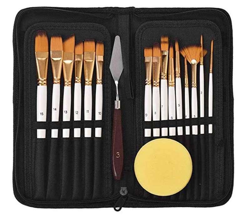 Docooler Ölfarben-Künstlerpinsel-Set mit freiem Anstrichmesser & Schwamm für 10,55€ (Prime)