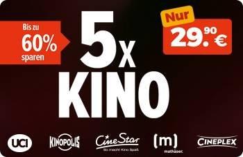 5 x Kino Ticket Aktion für 29,90€ bei Rewe: Einlösbar bei UCI, CineStar & mehr