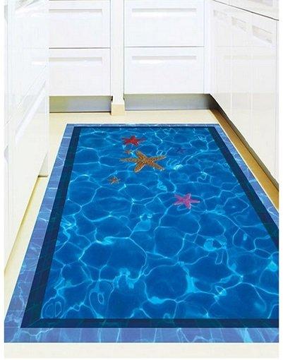 3D Bodensticker im Swimming Pool Design mit Seesternen nur…