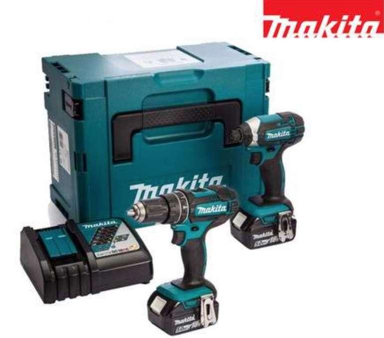 Makita 18V-Akku-Kombiset (2x 5Ah-Akku, Ladegerät, DHP482 Schlagbohrschrauber, DTD152 Schlagschrauber, Mbox) für 288,90€