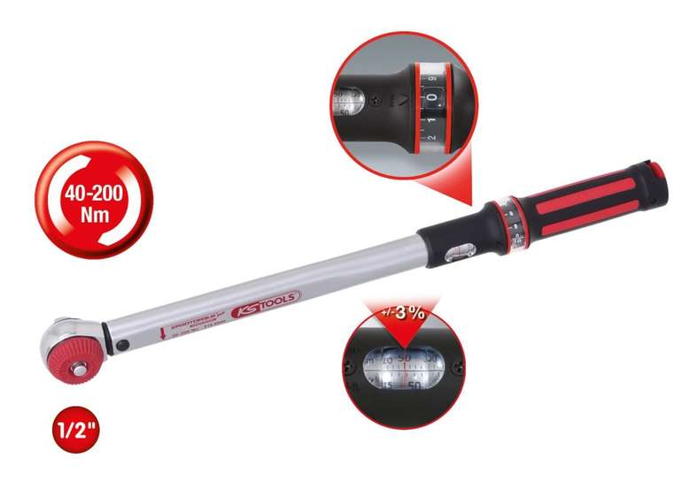 """KS Tools 1/2"""" ErgoTorque®precision Drehmomentschlüssel 20-200 Nm mit Quick-Lock Drehknopf für 64,51€"""