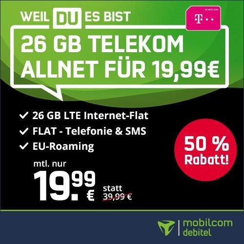 Knaller! SIM-Only: Mobilcom-Debitel Telekom green Allnet- und SMS- Flat mit 26GB LTE für 19,99€ mtl.