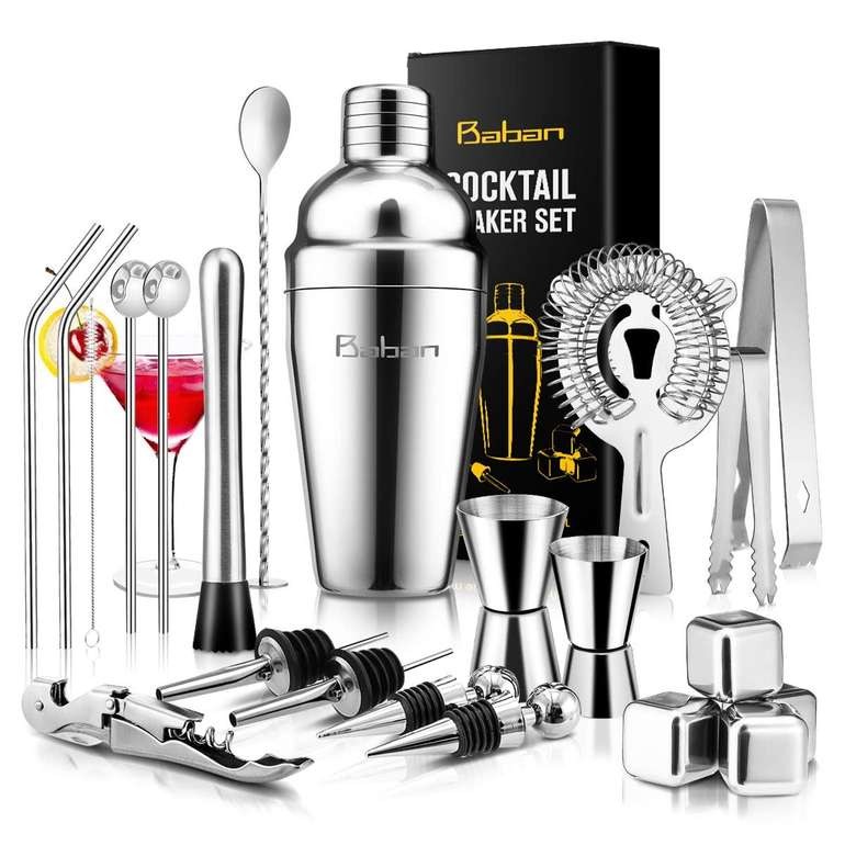 Baban 22-teiliges Cocktail Shaker Set inkl. Whiskey-Steinen für 17,99€ (Prime)