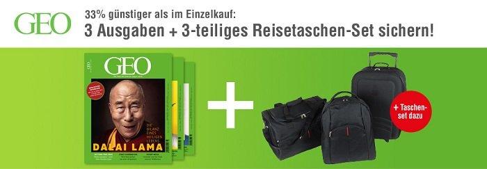 3 Ausgaben GEO-Magazin + 3-teiliges Reisetaschen-Set 2
