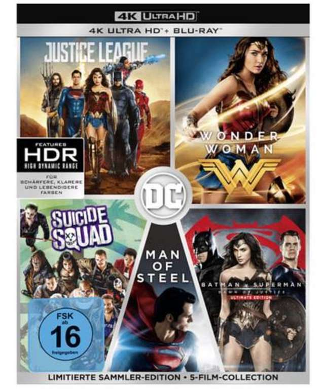 DC 5-Film Collection (Limitierte Exklusivedition) (10 Discs) 4K Ultra HD Blu-ray + Blu-ray für 59,99€ (statt 91€)