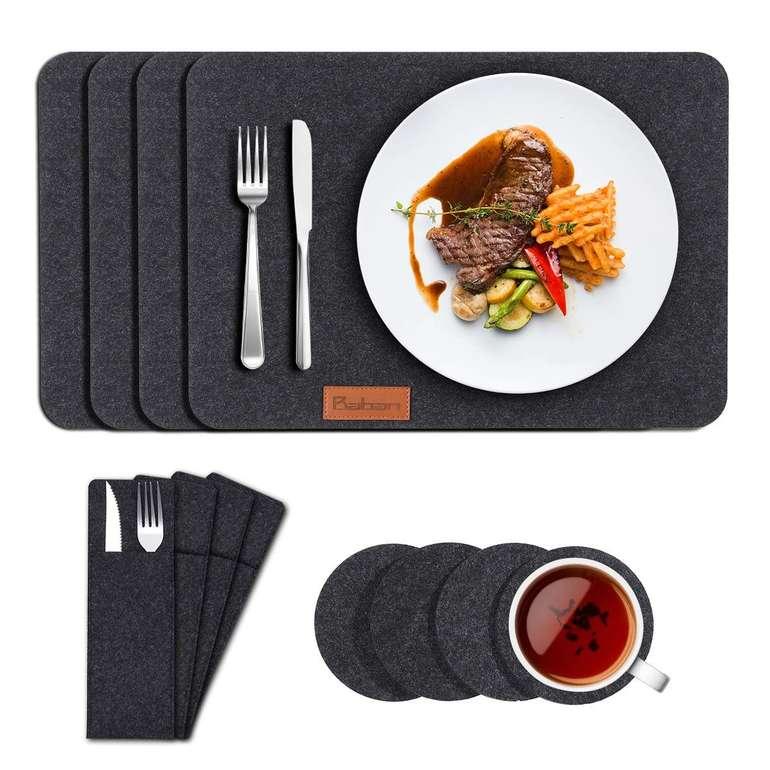 12-teiliges Baban Filz Tischset mit Bestecktaschen & Untersetzer für 9,48€ (Prime)