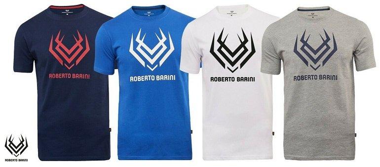 Roberto Barini Herren Kurzarm T-Shirts mit Logo Print 2