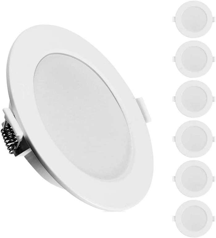 Kingso 6er Pack LED Einbaustrahler (6W, IP44, 3000K) für 22,19€ inkl. Versand (statt 37€)