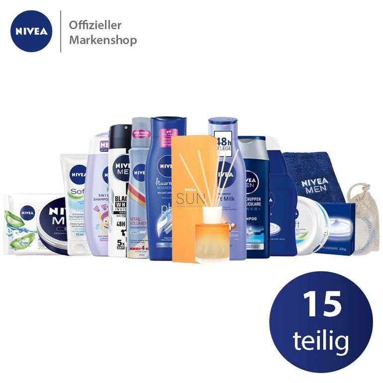 Nivea Beauty Box Pflegeprodukte - 15-teilig Raumduft Abschminkpads Handtuch etc. für 34,99€ (statt 41€)