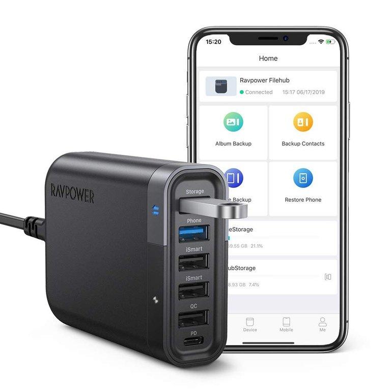 RAVPower 6-Port USB Filehub 60W für 28,99€ inkl. VSK