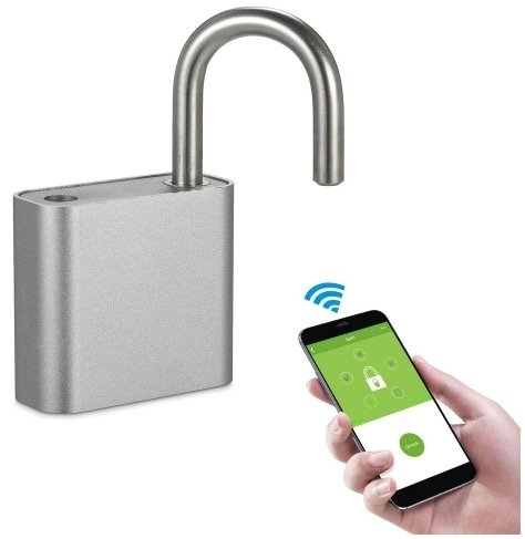 SmartesVorhängeschloss mit Bluetooth, Fingerabdruckscan & App-Steuerung 18,25€
