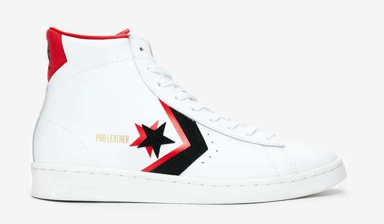 Converse Pro Leather Mid Herren/Kids Sneaker in Weiß/Rot für 31€ inkl. Versand (statt 55€)