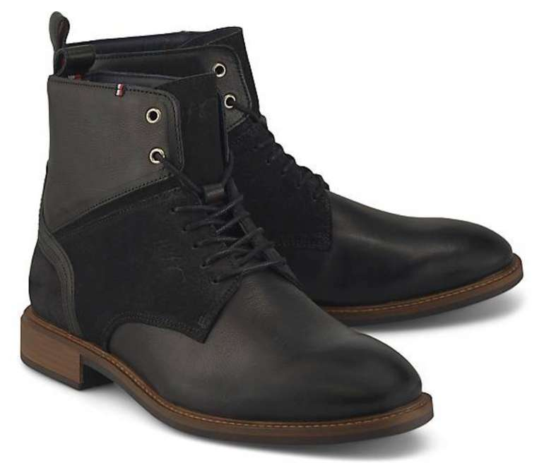 Tommy Hilfiger Schnür-Stiefel Elevated in schwarz für 59,50€ inkl. Versand (statt 75€) - 41,43,44,46!