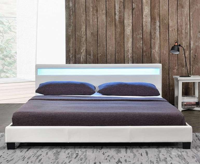 ArtLife Doppelbett (140x200cm) mit Matratze und LED-Beleuchtung für 159,99€ inkl. Versand