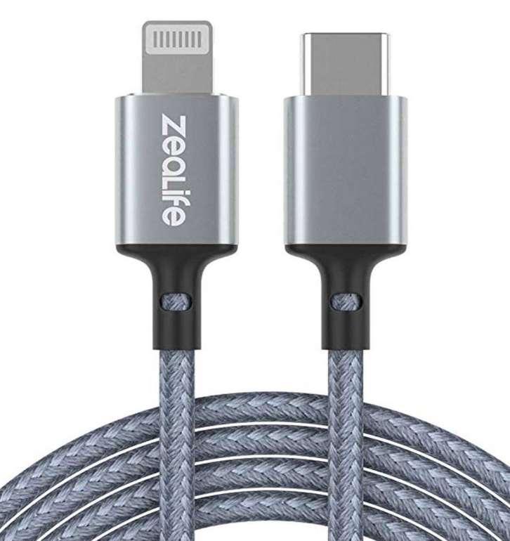 ZeaLife USB C auf Lightning Kabel (120cm, geflochten, MFI Zertifiziert) für 7,99€ - Prime!