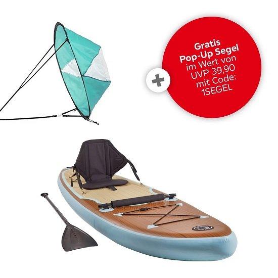 XXXL Lutz I-SUP III Petrol Stand Up Paddle (ca. 290 x 76 cm) inkl. Pop Up Segel für 273,85€