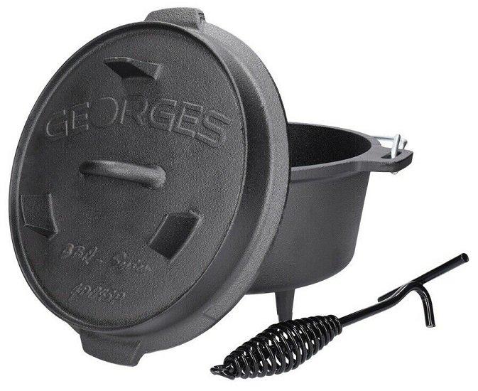 Georges Premium Dutch Oven mit Füßen - preseasoned (bereits eingebrannt) + Deckelheber ab 34,99€