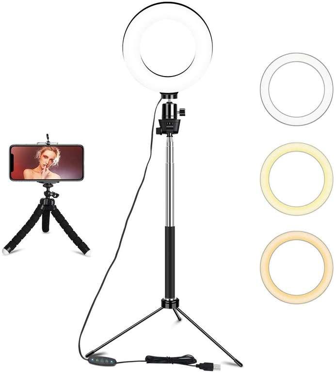 """Uitoly 6"""" Ringlicht mit Stativ (3 Farbmodi, 10 Helligkeitsstufen) für 8,99€ inkl. Prime Versand (statt 13€)"""