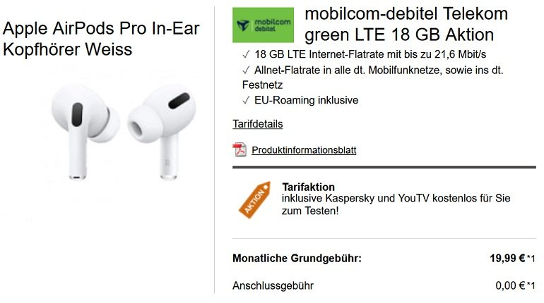 Apple Airpods Pro mobilcom-debitel Telekom green LTE 18 GB