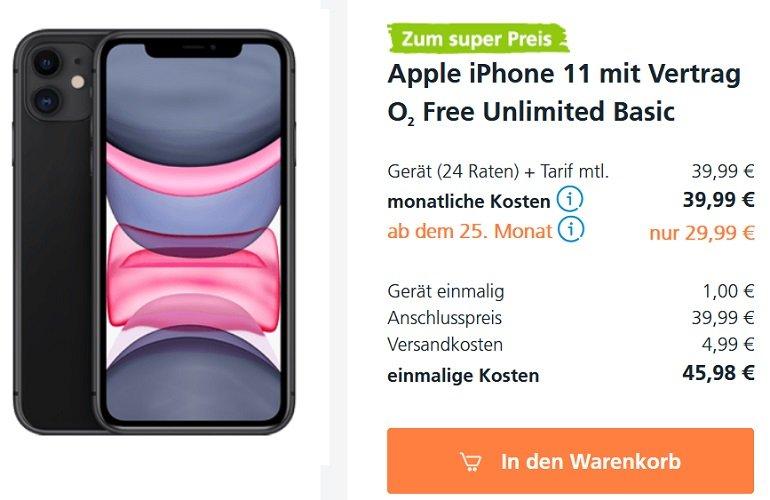 Apple iPhone 11 o2 Free M Allnet-Flat mit 20GB LTE