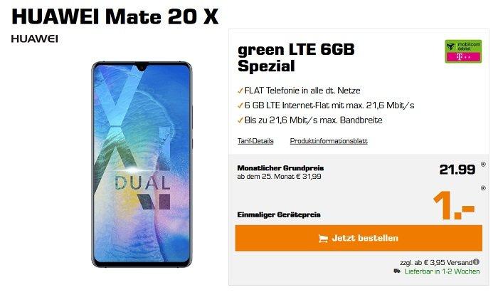 Huawei Mate 20 X Telekom oder Vodafone green 6GB LTE Allnet-Flat