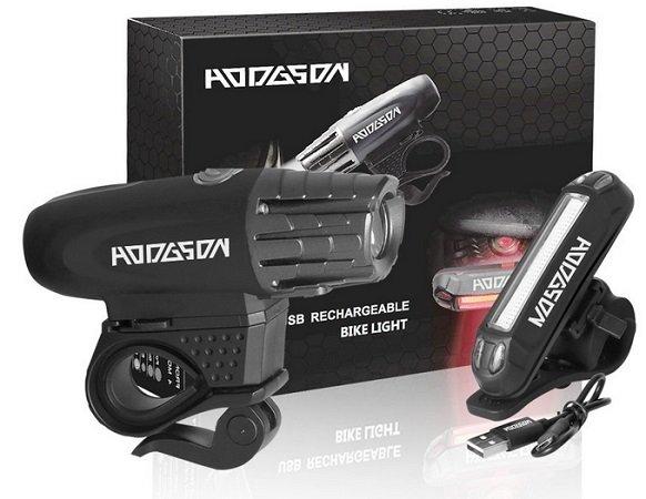 Hodgson - LED  Fahrradlicht Set mit USB (wiederaufladbar) für 15,99€