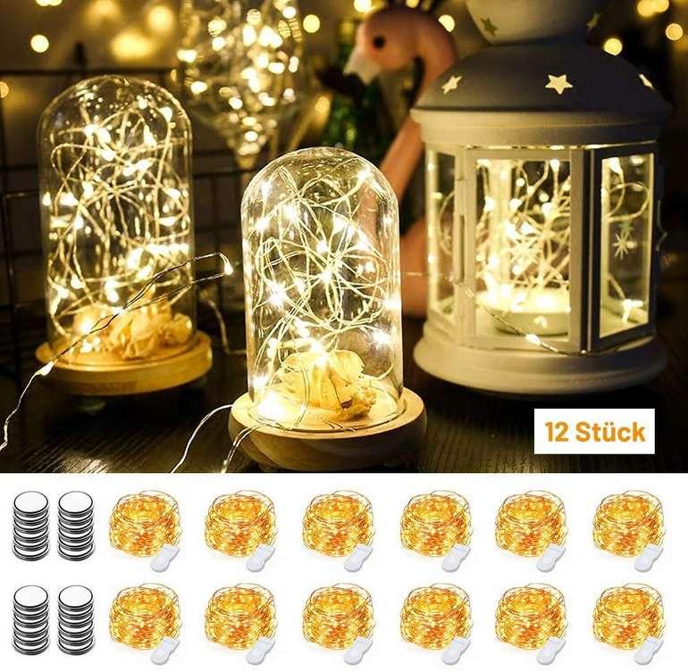 12er Pack MustWin LED Kupferdraht Lichterkette (40 LEDs, wasserdicht, 4m) für 11,49€ (Prime)