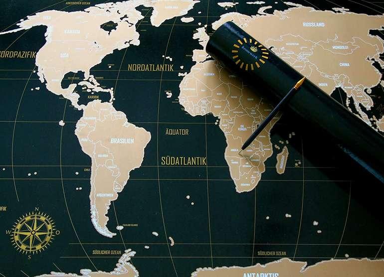 Weltkarte zum Rubbeln – Kronewerk – Englisch oder Deutsch – XXL 88x57cm + USA-Karte in A4