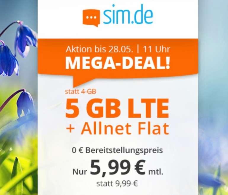 Sim.de: o2 Allnet-Flat mit 5GB LTE Datenvolumen (bis zu 50 MBit/s!) für 5,99€ mtl. (ohne Vertragslaufzeit)