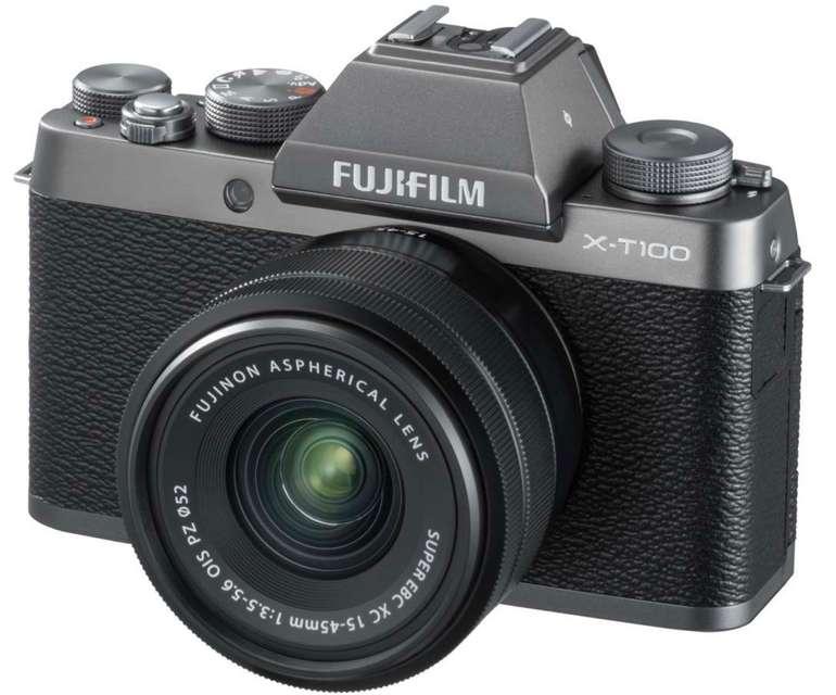 Fujifilm X-T100 Systemkamera mit Fujinon XC15-45F3,5-5,6 Objektiv, Kameratasche und Speicherkarte für 299€