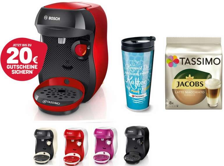 Bosch TASSIMO Happy Kapsel Maschine + Thermosbecher für 29,99€ inkl. Versand (statt 46€) + 20€ Store Guthaben