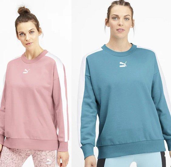Puma Damen Sweatshirt 'Classics T7' in Rosa oder Pastellblau für je 27,30€ (statt 42€)