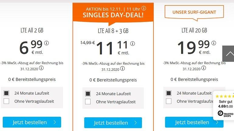 Sim.de o2 Allnet-Flat mit 11GB LTE Datenvolumen 2