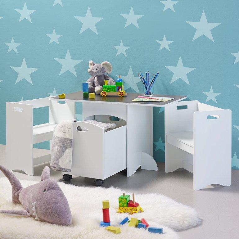 Bessagi Home Kindersitzgruppe Melly (Stauraum, Tafeloberfläche) für 69,30€ inkl. Versand (statt 85€)