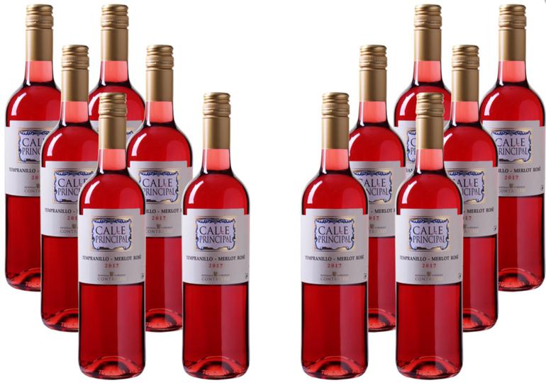 12 Flaschen Calle Principal Tempranillo-Merlot Rosé Wein für 39,96€