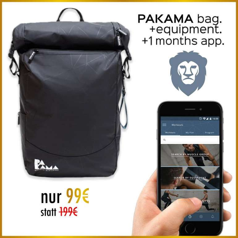 Pakama Bag 2.0 Sportrucksack mit 10-tlg. Trainings-Equipment & App für 103,99€ inkl. Versand (statt 204€)