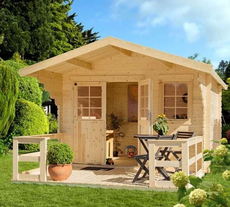"""Kiehn-Holz Set: Gartenhaus """"Kallenberg 2"""" (BxT: 350x441 cm) + Terrasse, Vordach und Fußboden für 1.189,99€"""