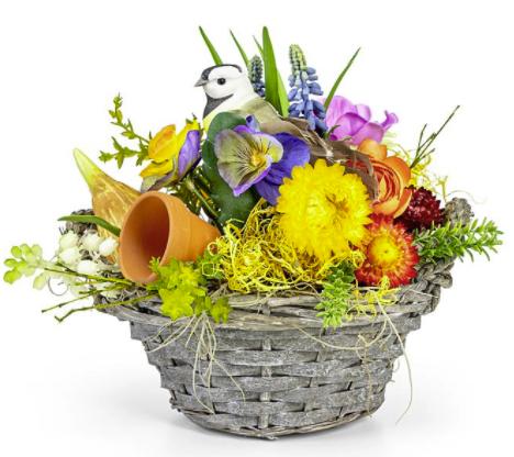 REWE Blumen: Starke 5€ Rabatt auf Blumen zum Osterfest, z.B. Frühlingskörbchen für 22,98€ inkl. Versand (statt 28€)