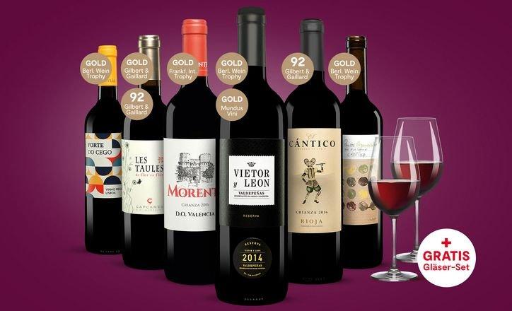 Vinos: 6er Paket prämierte Rotweine inklusive Schott Zwiesel Ivento 2er-Gläserset für 29,23€ (statt 56€)
