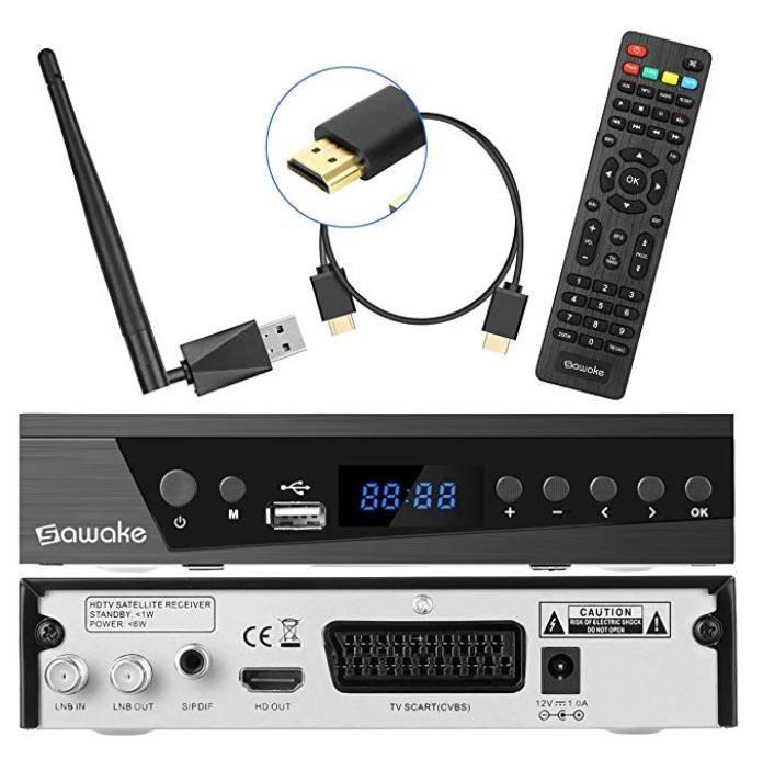 Sawake - Digitaler SAT-Receiver mit WiFi Adapter für 17,99€ (statt 30€)